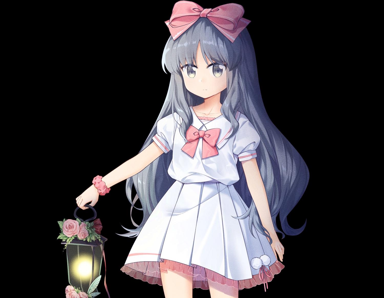 black bow cropped flowers gray_eyes gray_hair headband loli long_hair original ribbons rose school_uniform skirt transistor wristwear
