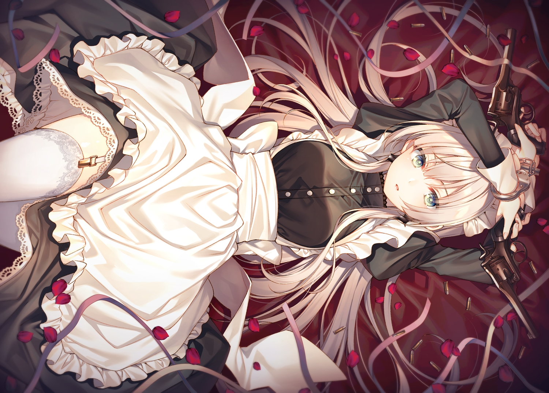 apron garter_belt green_eyes gun long_hair maid original stockings toosaka_asagi weapon