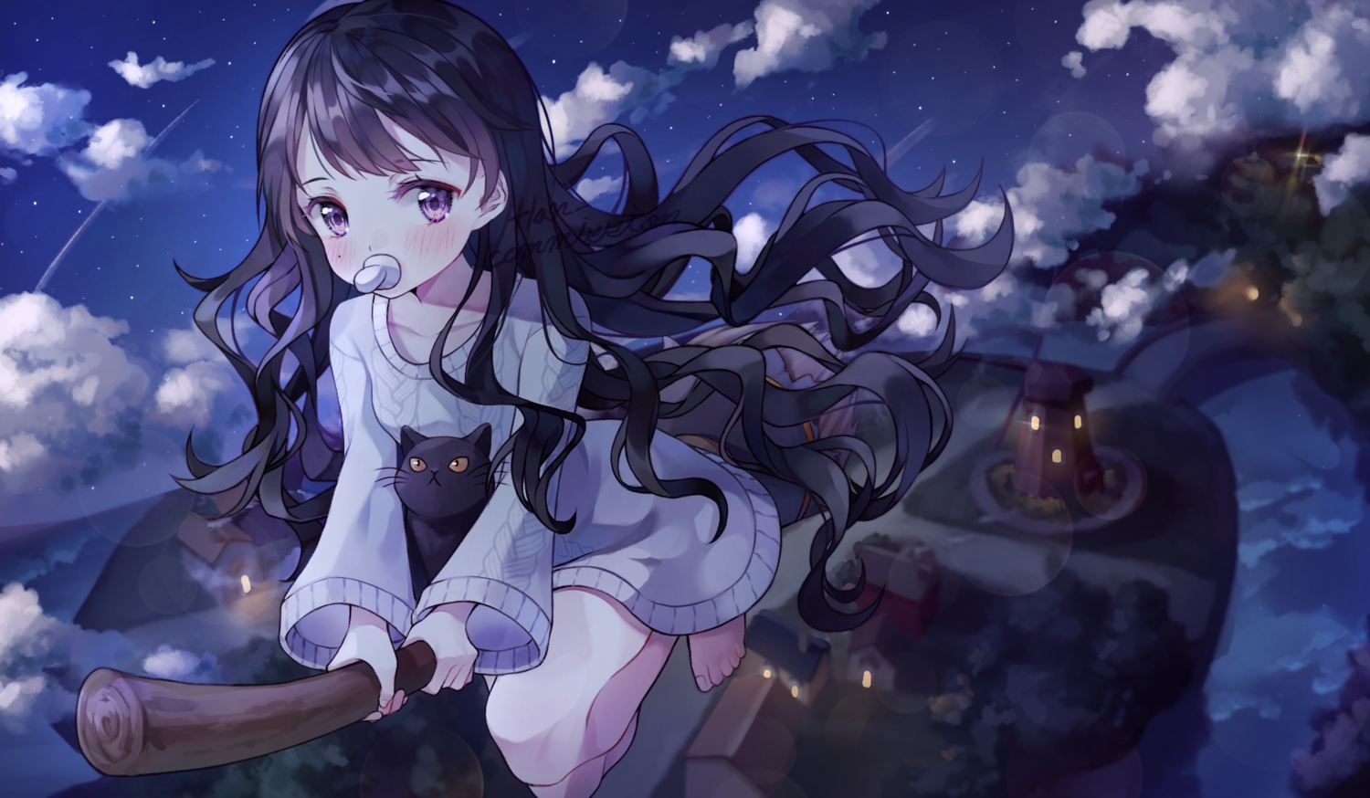 animal black_hair blush building cat clouds han_seol landscape loli long_hair night original purple_eyes scenic sky water windmill witch
