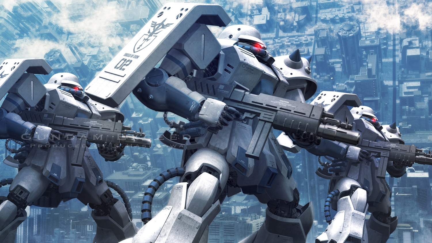 building city clouds gun mobile_suit_gundam robot s.hasegawa watermark weapon