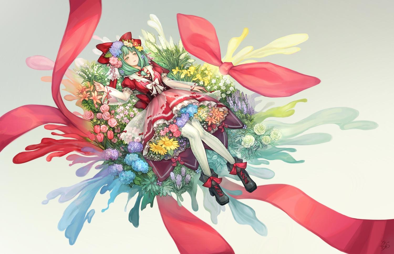 bow dress flowers green_eyes green_hair kagiyama_hina pantyhose ribbons short_hair tagme_(artist) touhou