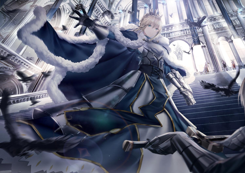 animal armor artoria_pendragon_(all) bird blonde_hair braids cape fate/grand_order fate_(series) feathers junpaku_karen lancelot_(fate) merlin_(fate/grand_order) mordred saber short_hair stairs sword weapon