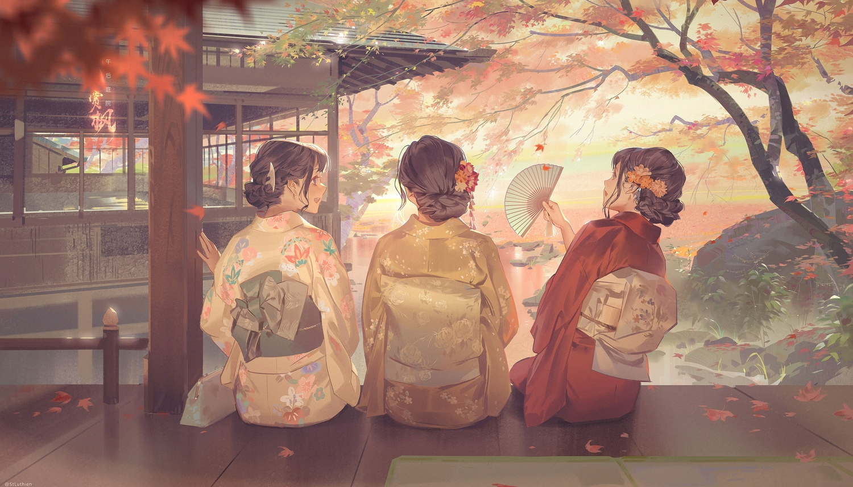 autumn brown_hair building fan japanese_clothes jinn_avalon kimono leaves original scenic tree water watermark