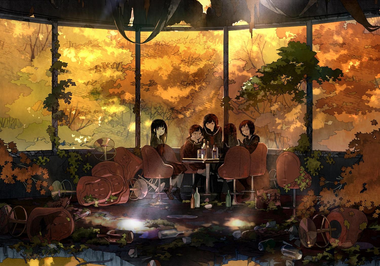 black_hair dotaku drink leaves long_hair original ruins school_uniform short_hair tree