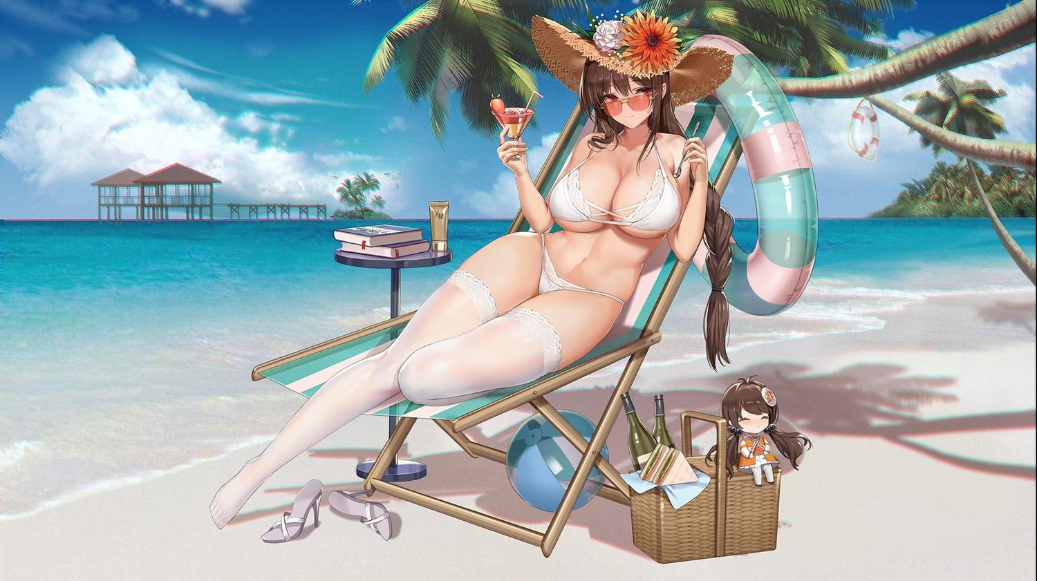 ball beach bikini book braids clouds drink food iron_saga sky sunglasses swim_ring swimsuit thighhighs tree water zjsstc
