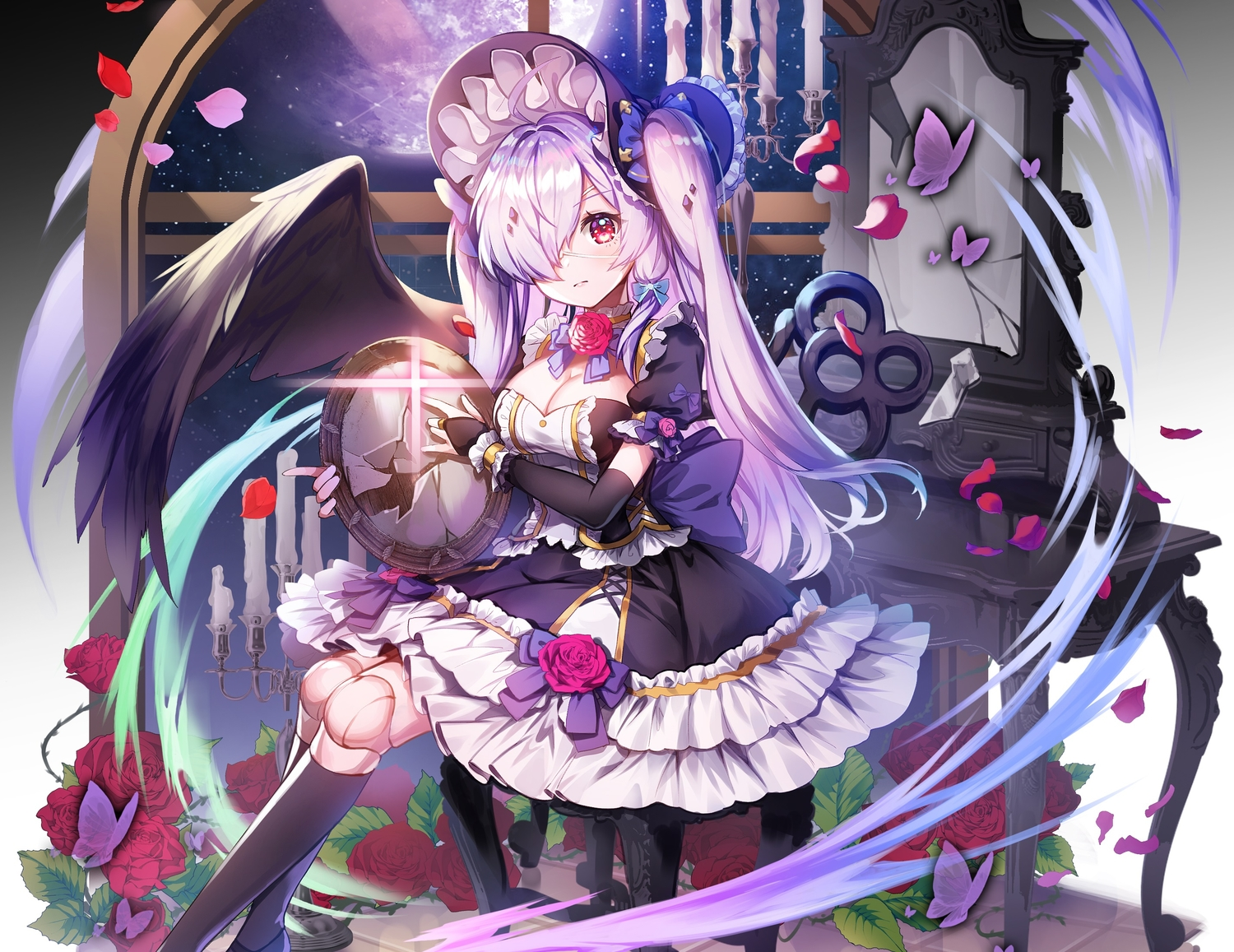 aliasing applecaramel_(acaramel) bow breasts butterfly cleavage cropped doll dress elbow_gloves eyepatch flowers gloves goth-loli gray_hair headdress kneehighs lolita_fashion long_hair mirror original petals red_eyes rose twintails wings