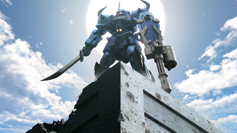clouds gun mecha mobile_suit_gundam s.hasegawa sky sword watermark weapon