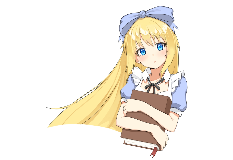 alice_in_wonderland alice_(wonderland) aqua_eyes blonde_hair book bow headband long_hair original ribbonsnek white