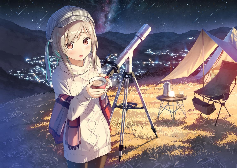 blush brown_hair drink grass hat kantoku long_hair night original pantyhose pink_eyes ponytail scarf sky stars