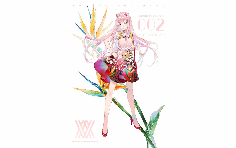 darling_in_the_franxx dress ekita_xuan flowers green_eyes horns pink_hair watermark white wristwear zero_two