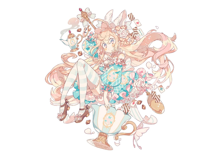 blonde_hair bloomers blush bow braids dress food headdress lolita_fashion long_hair original petals pink_eyes thighhighs wakanagi_eku white