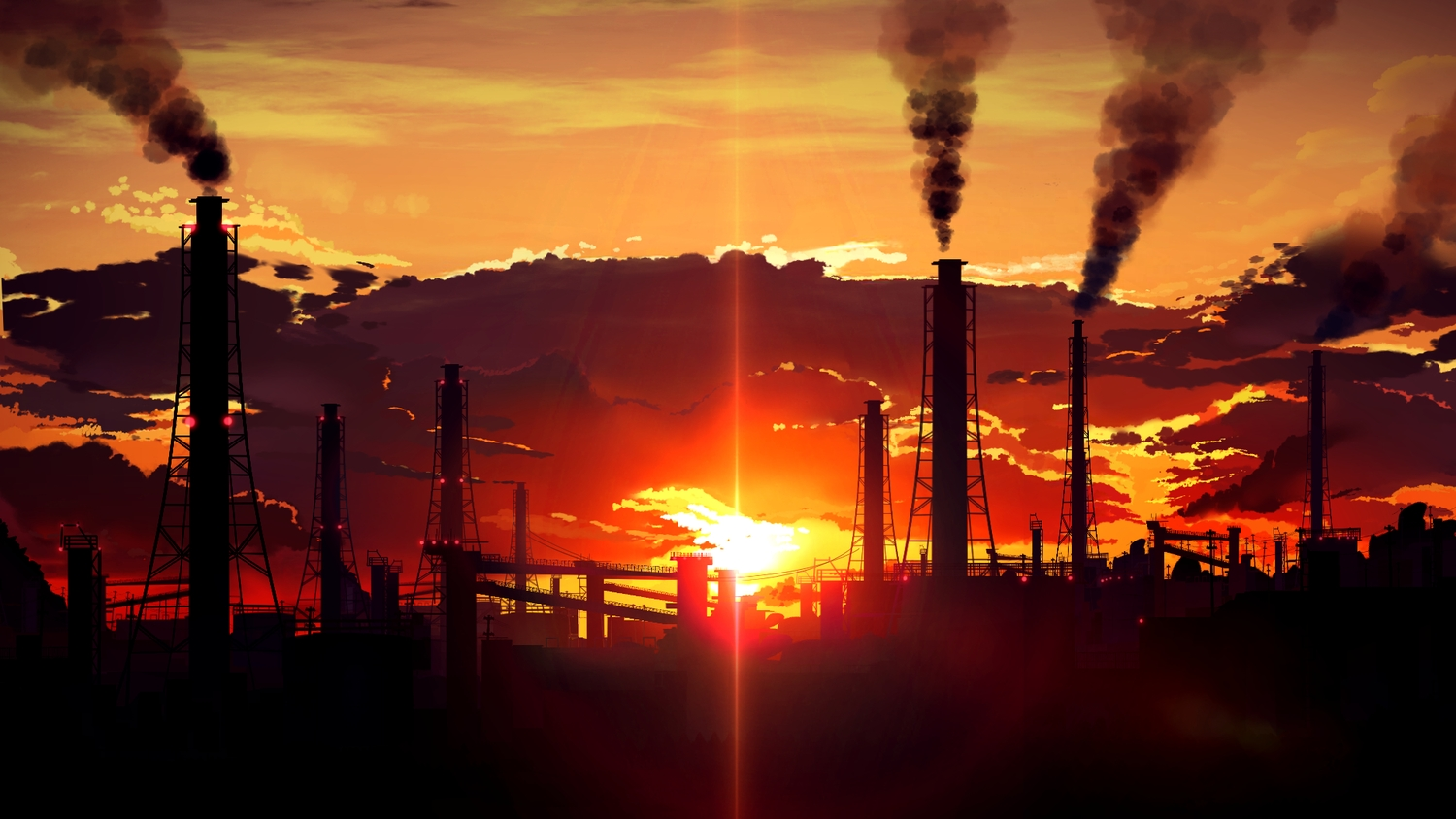 clouds industrial nobody original scenic silhouette sky smile_(qd4nsvik) sunset