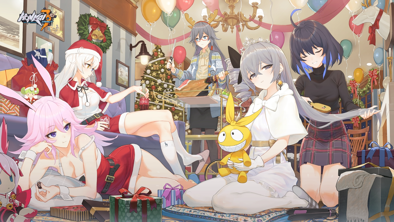 animal_ears aqua_eyes bicolored_eyes black_hair breasts bronya_zaychik bunny_ears christmas cleavage food fu_hua glasses gray_eyes gray_hair hat honkai_impact horns kiana_kaslana knife logo long_hair pantyhose pink_hair purple_eyes santa_costume santa_hat seele_vollerei tagme_(artist) white_hair yae_sakura_(benghuai_xueyuan)
