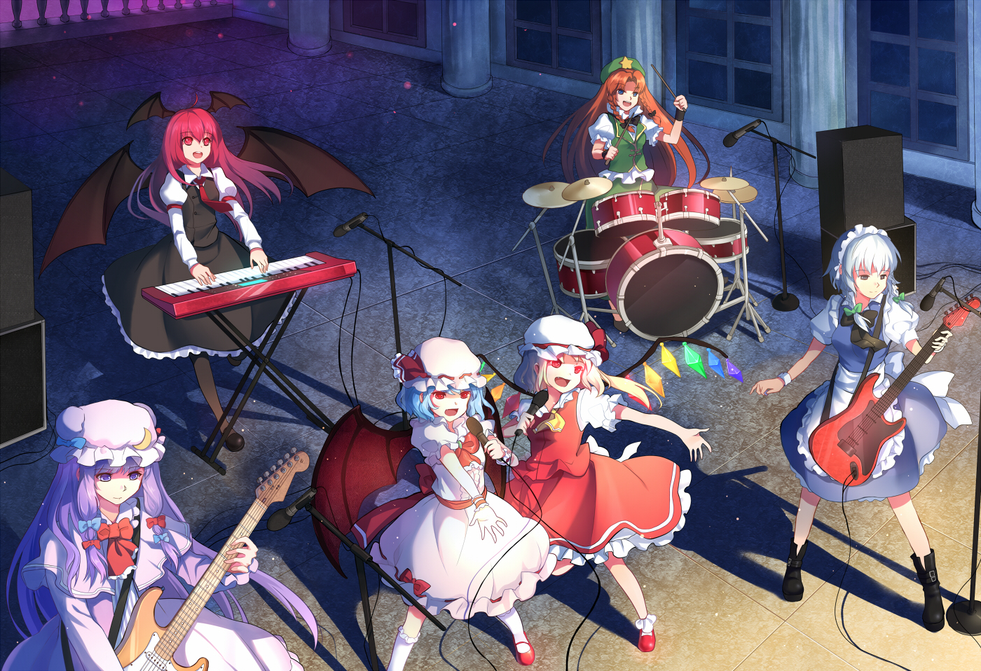 blonde_hair blue_hair boots braids drums flandre_scarlet gray_eyes gray_hair greetload guitar hat hong_meiling instrument izayoi_sakuya koakuma long_hair microphone patchouli_knowledge piano purple_eyes purple_hair red_eyes red_hair remilia_scarlet ribbons short_hair touhou wings