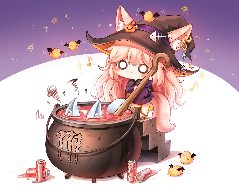animal animal_ears bird blush chibi drink foxgirl halloween honyang long_hair original pink_hair stockings tail witch