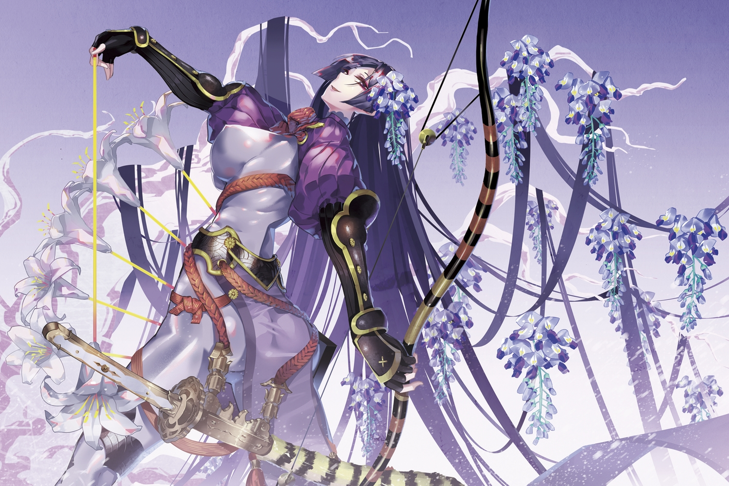 armor ass bodysuit bow_(weapon) breasts erect_nipples fate/grand_order fate_(series) flowers gloves gradient katana long_hair minamoto_no_yorimitsu_(fate) purple_eyes purple_hair skintight sword tsurukame weapon
