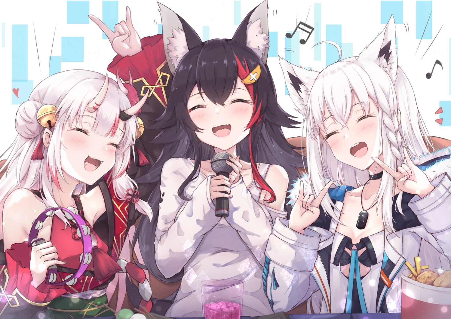 animal_ears black_hair braids choker drink fang food foxgirl hakuya_(white_night) hololive horns instrument long_hair microphone music nakiri_ayame necklace ookami_mio shirakami_fubuki white_hair wolfgirl