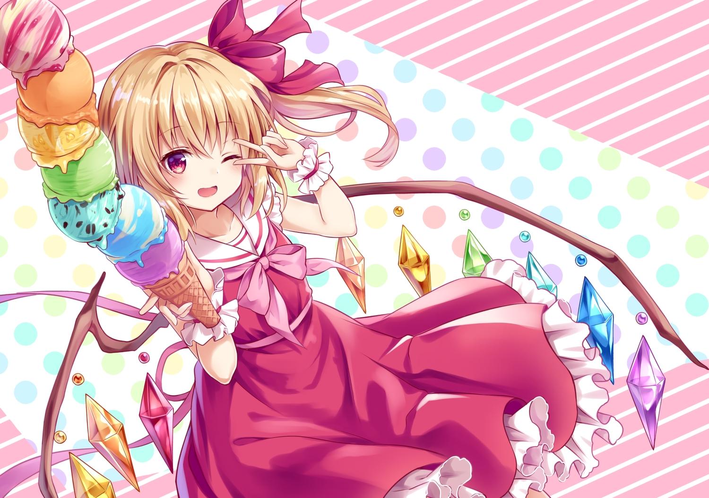 blonde_hair bow dress flandre_scarlet food ice_cream kure~pu loli ponytail red_eyes ribbons short_hair touhou vampire waifu2x wings wink wristwear