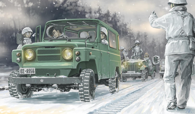 black_hair car combat_vehicle group gun hat jettoburikku male military original short_hair signed snow uniform weapon