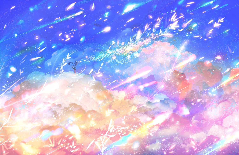 bou_nin clouds dress long_hair original petals polychromatic scenic sky