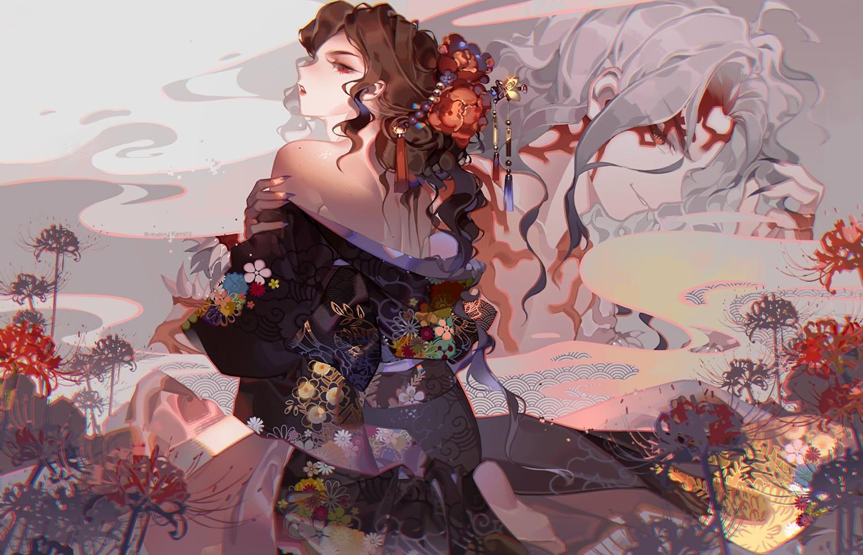brown_hair flowers genderswap japanese_clothes kawacy kibutsuji_muzan kimetsu_no_yaiba kimono long_hair male red_eyes waifu2x watermark
