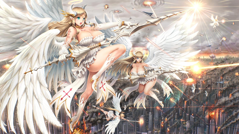 Sexy girls wings angel beauty pendant wallpaper