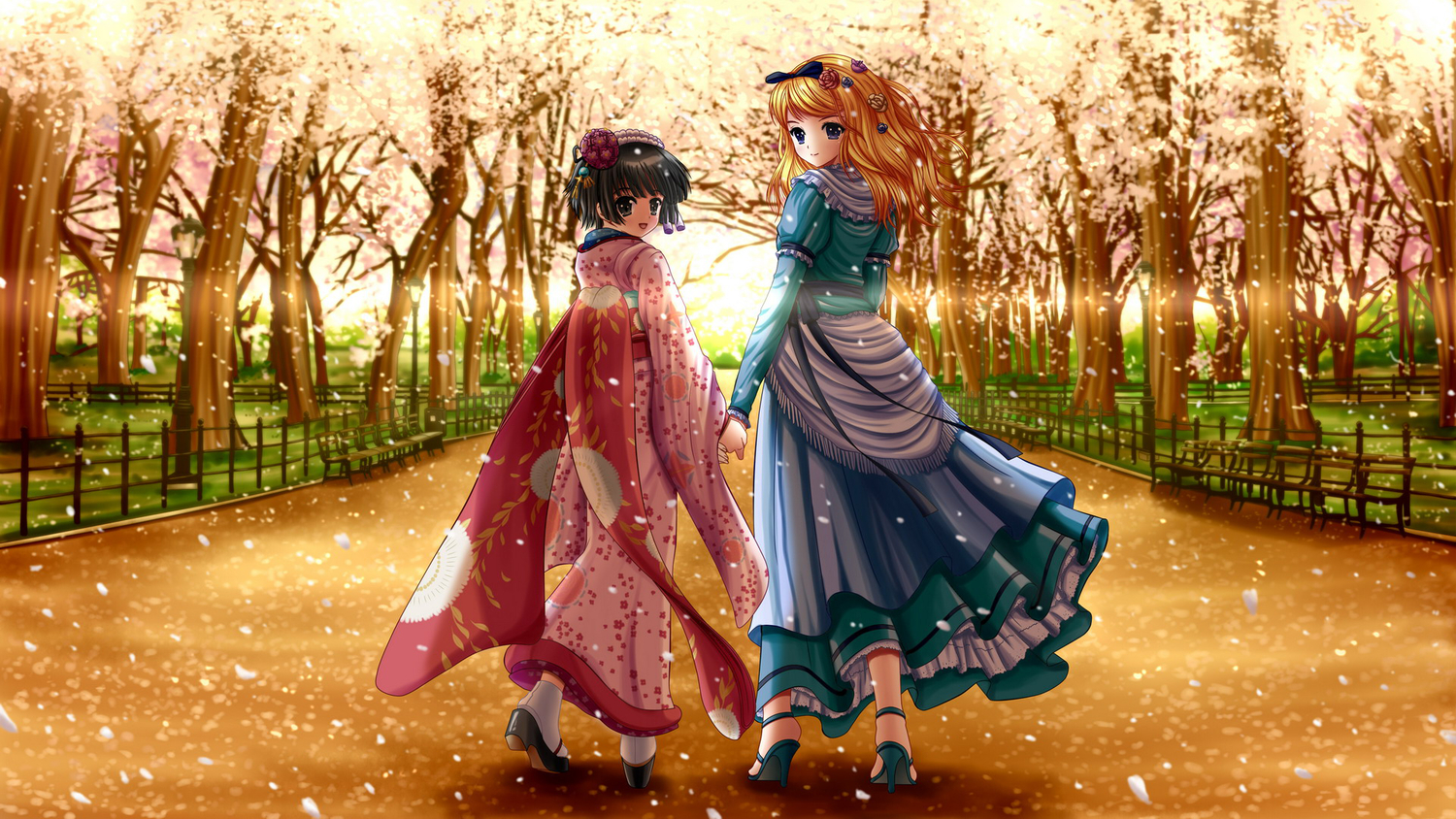 2girls alice_blanche black_hair blonde_hair bow cherry_blossoms dress flowers headdress ikoku_meiro_no_croisee ilolamai japanese_clothes long_hair petals ribbons short_hair sunset yune_(ikoku_meiro_no_croisee)