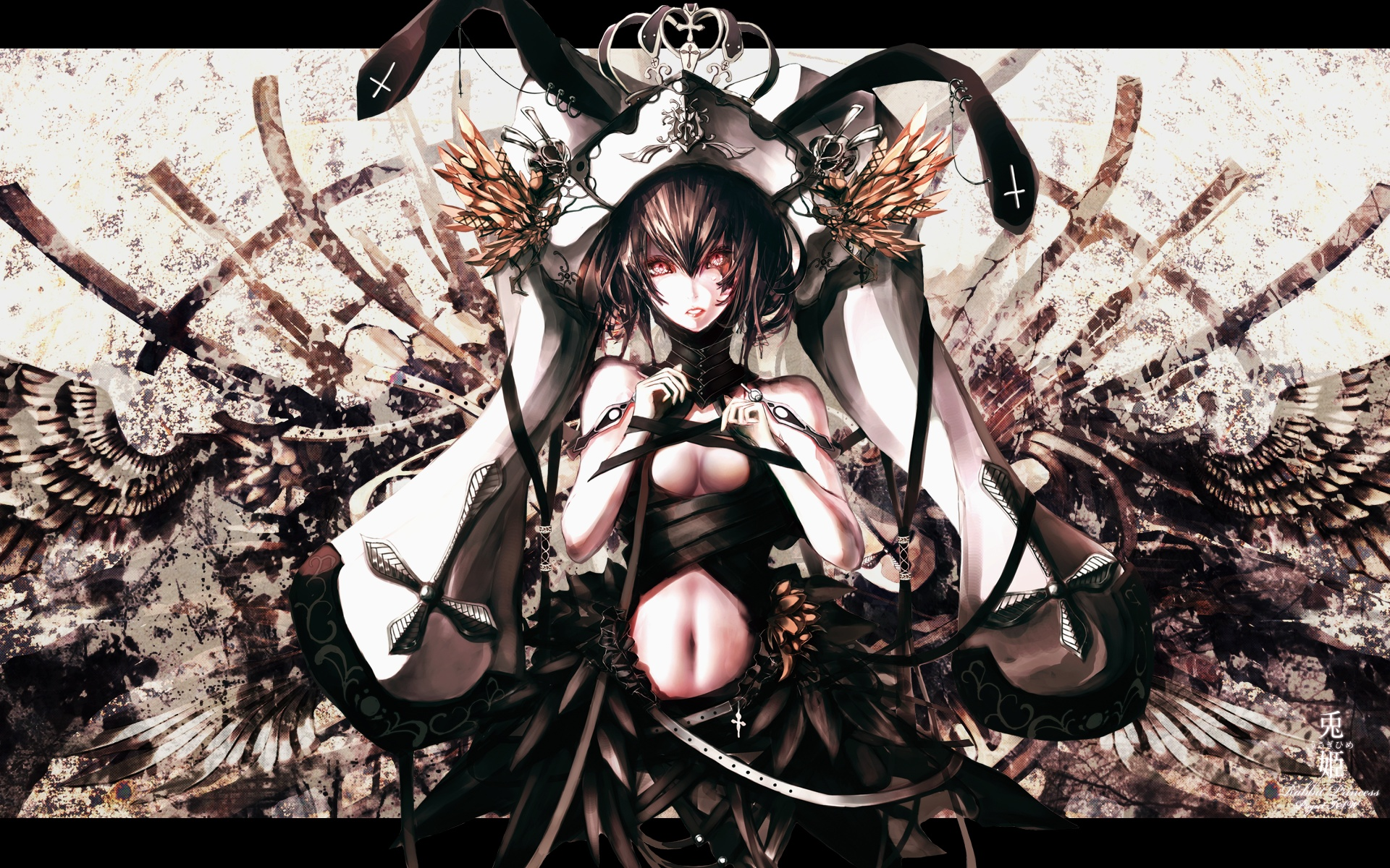 .hack//g.u. .hack//roots banpai_akira hat i.s.w. navel red_eyes shino short_hair wings