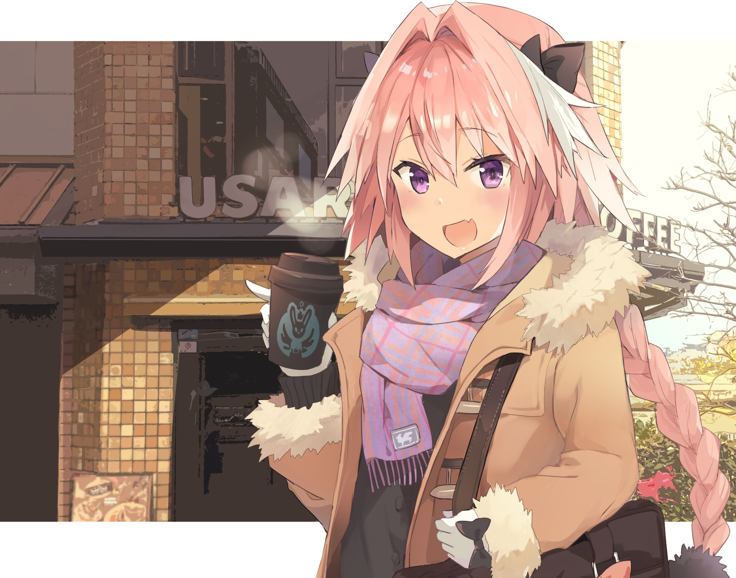 all_male astolfo bow braids building drink fang fate/apocrypha fate/grand_order fate_(series) gloves kusumoto_touka long_hair male pink_hair ponytail purple_eyes scarf trap