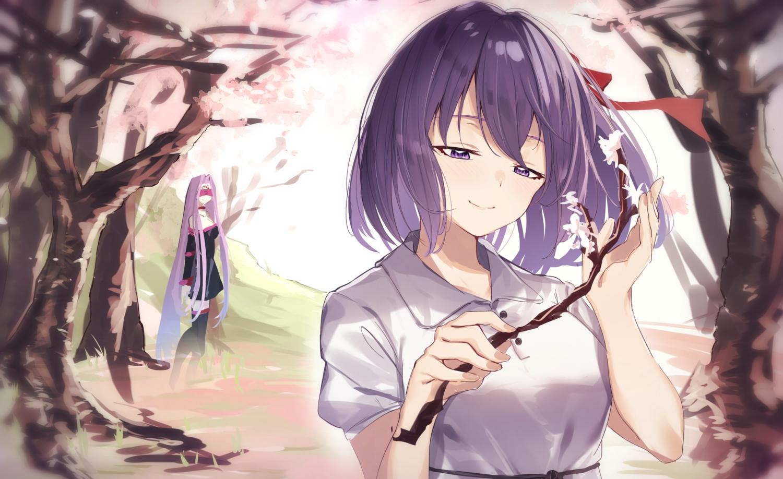 2girls blindfold close fate_(series) fate/stay_night long_hair matou_sakura purple_eyes purple_hair rider school_uniform short_hair tapioka_(oekakitapioka) tree