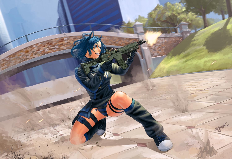 all_points_bulletin animal_ears blue_hair gun lasterk original panties striped_panties underwear weapon
