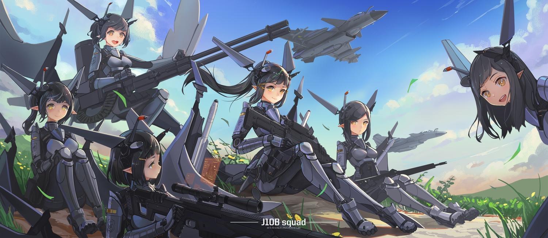aircraft black_hair clouds flowers grass group gun long_hair mechagirl original pointed_ears ponytail short_hair sima_naoteng sky weapon yellow_eyes