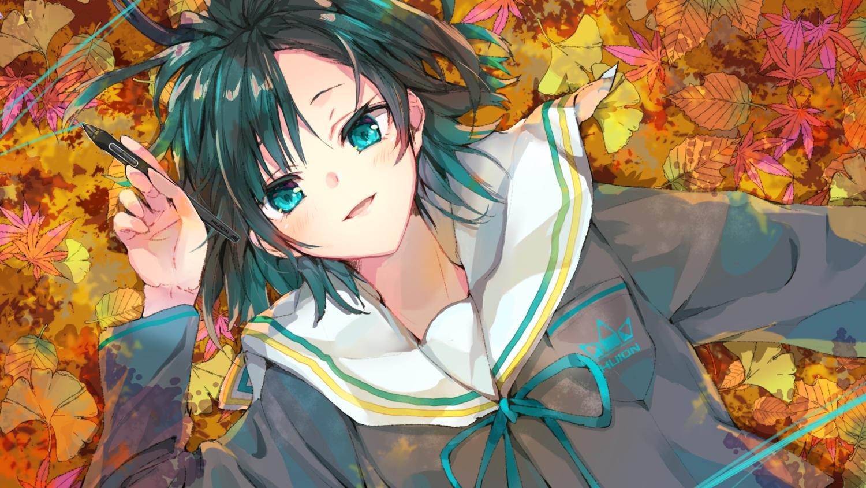 autumn blush close green_eyes green_hair huion leaves original school_uniform short_hair tomozero
