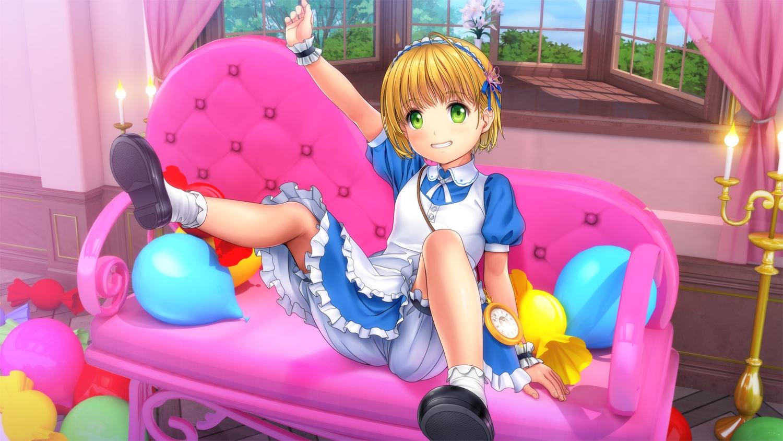 alice_in_wonderland alice_(wonderland) apron blonde_hair bloomers couch green_eyes loli lolita_fashion moonknives socks upskirt wristwear