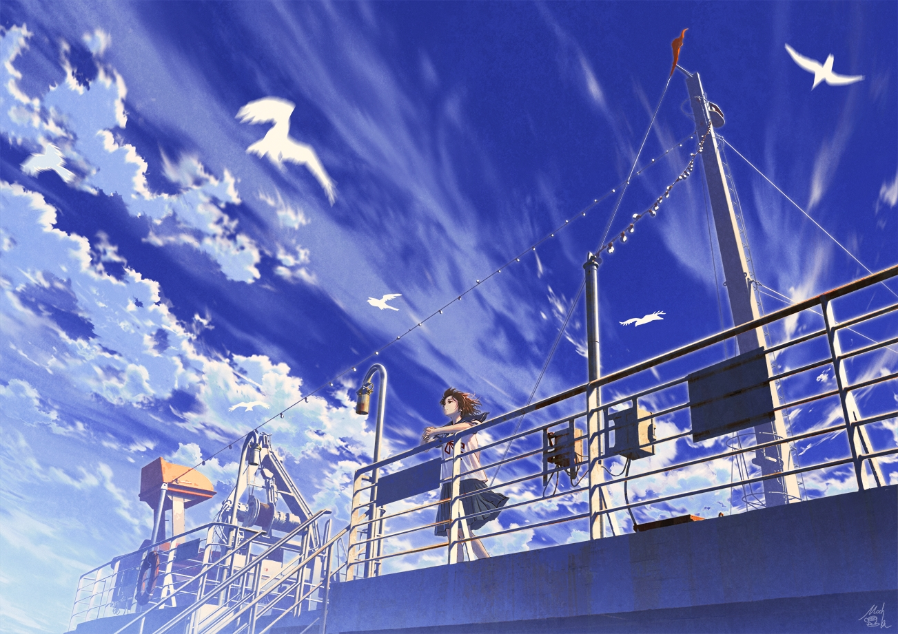 boat brown_hair clouds mocha_(cotton) original scenic school_uniform short_hair signed skirt sky