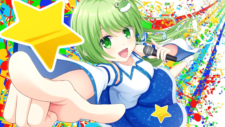 animal close green_eyes green_hair japanese_clothes kochiya_sanae long_hair microphone miko snake sora_freebird touhou
