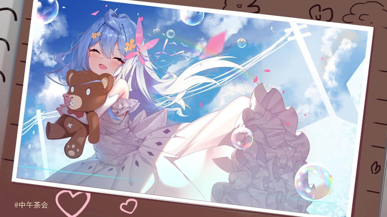 aqua_hair blush bubbles clouds dress heart hug loli long_hair sky teddy_bear watermark zhongwu_chahui