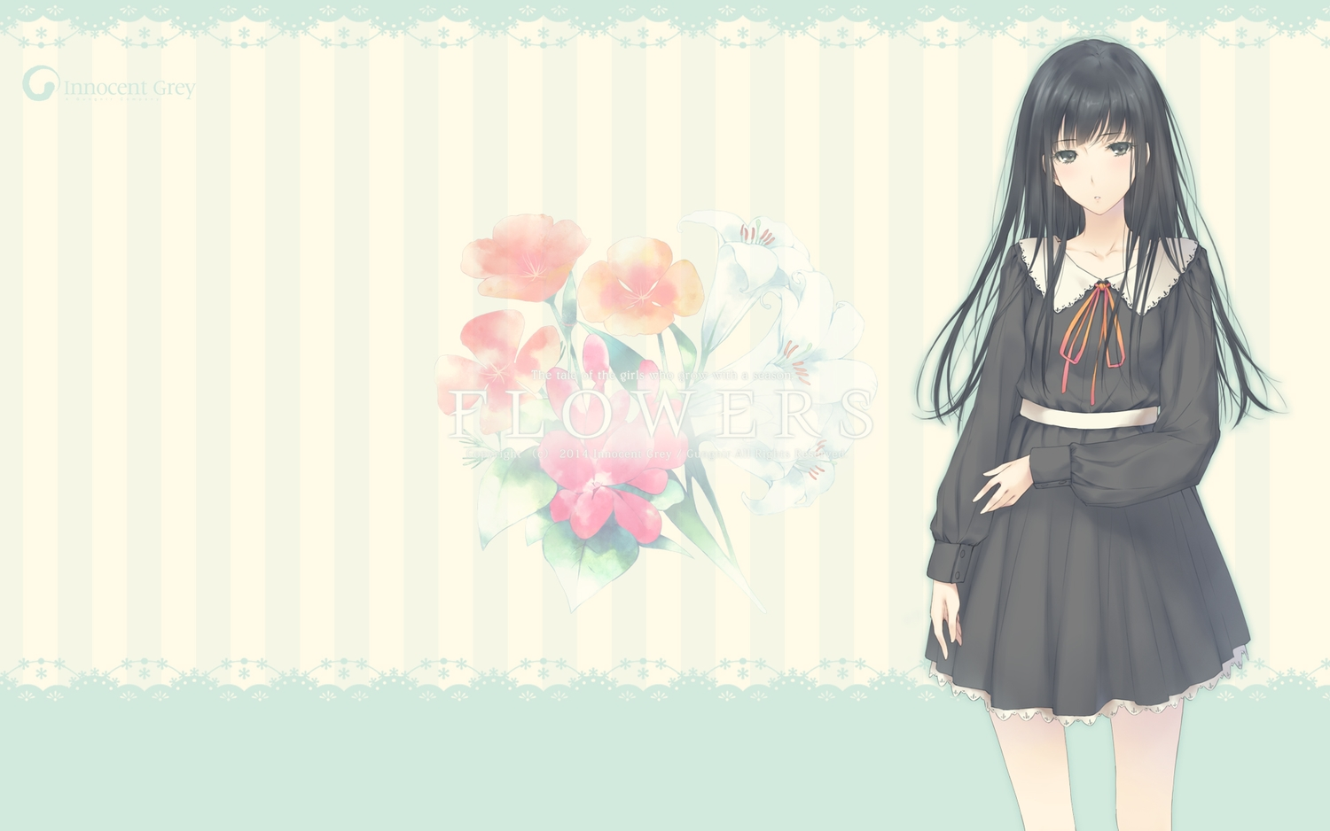 black_eyes black_hair flowers_(game) innocent_grey long_hair school_uniform shirahane_suou sugina_miki