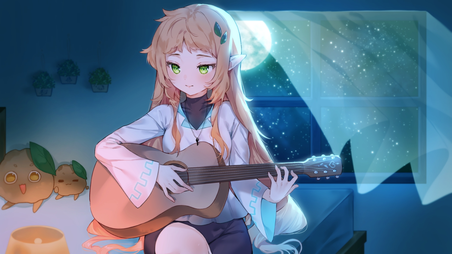 brown_hair cheli_(kso1564) guitar instrument long_hair moon necklace night pointed_ears sky stars