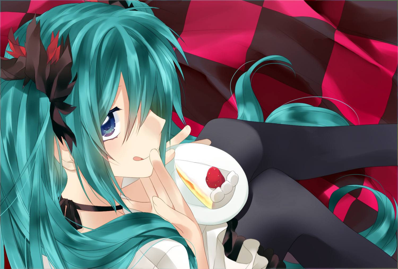 akitsuki_(akiduko) cake food hatsune_miku vocaloid world_is_mine_(vocaloid)