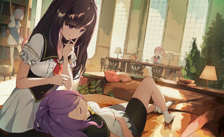 alpha_(lapis_re:lights) arient5888 book brown_hair dress emilia_(lapis_re:lights) garnet_(lapis_re:lights) lapis_re:lights long_hair ponytail purple_eyes purple_hair sleeping