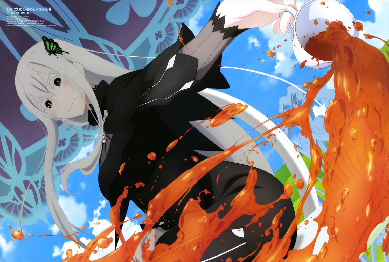 black_eyes blush clouds dress drink echidna_(re:zero) iwata_keiko long_hair re:zero_kara_hajimeru_isekai_seikatsu scan sky watermark white_hair