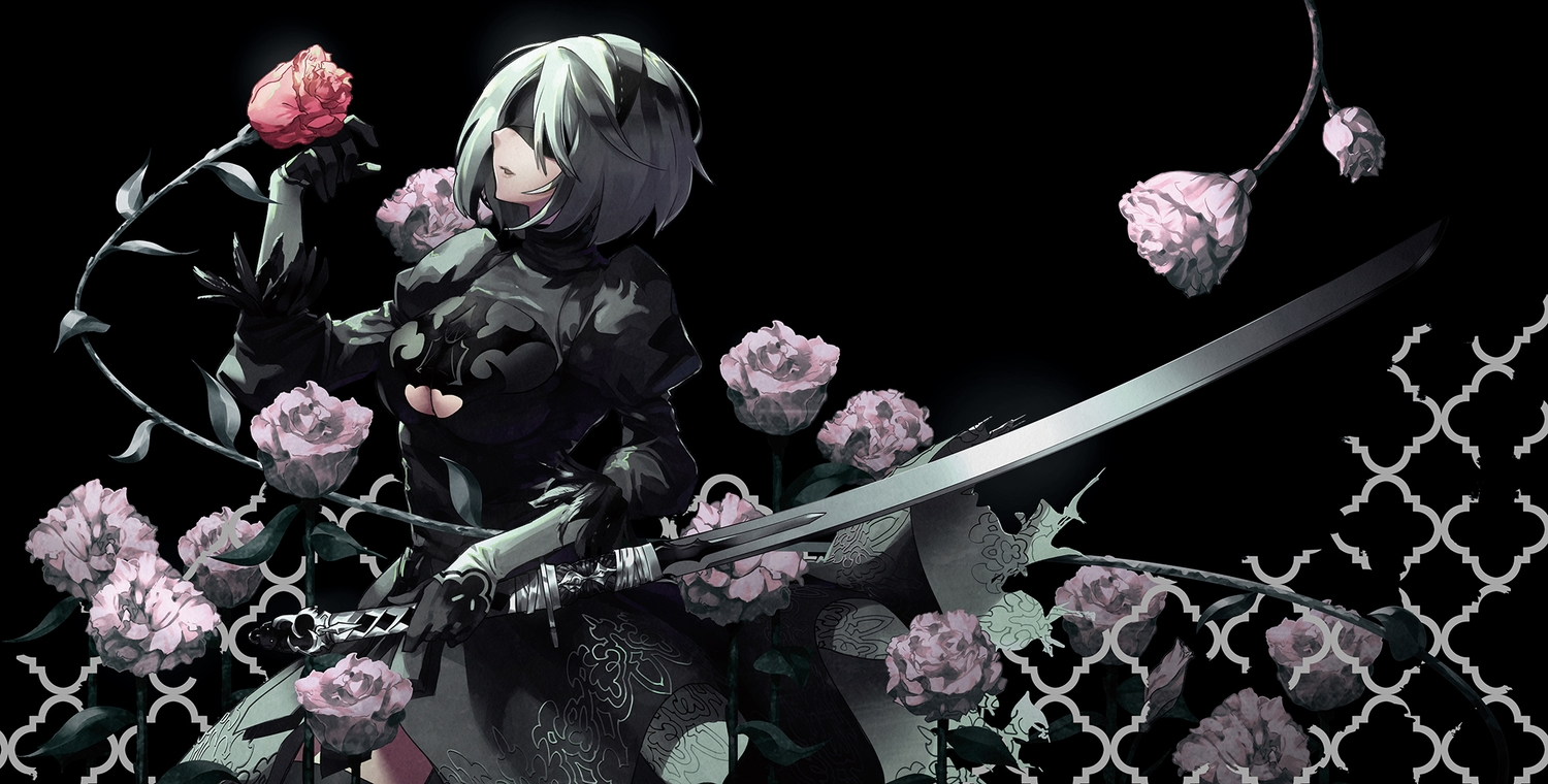 blindfold breasts cleavage dress flowers gloves gray_hair headband katana nier nier:_automata rose short_hair sword tsurukame weapon yorha_unit_no._2_type_b