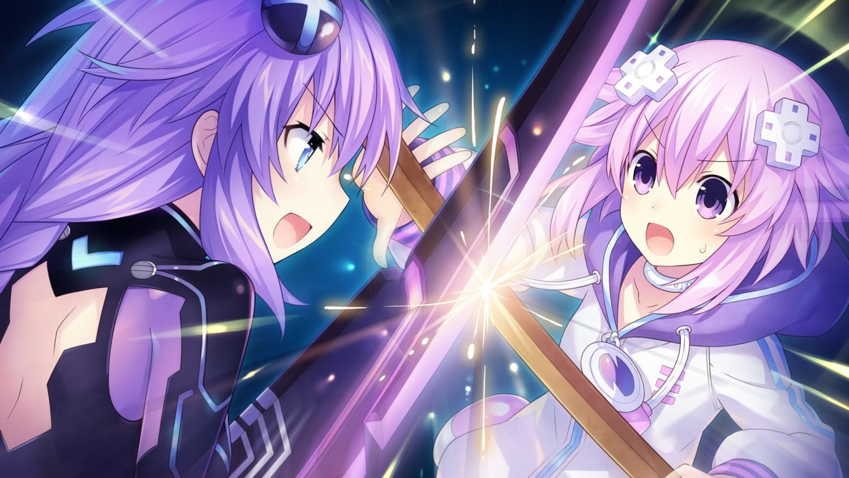 blue_eyes choker game_cg hoodie hyperdimension_neptunia neptune purple_eyes purple_hair purple_heart sword tsunako weapon