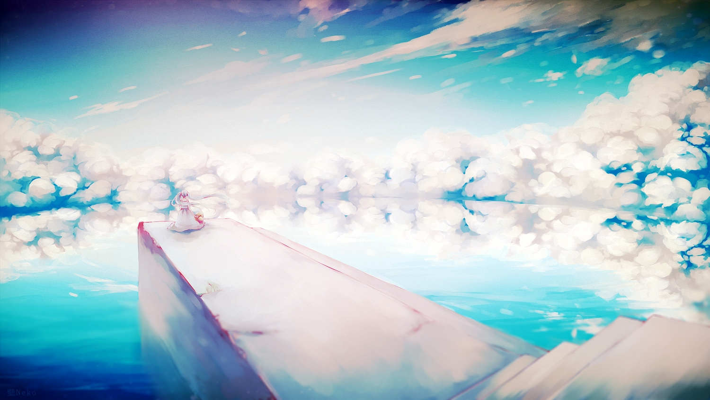clouds dress hat hatsune_miku kabenekoneko long_hair scenic sky stairs twintails vocaloid water watermark