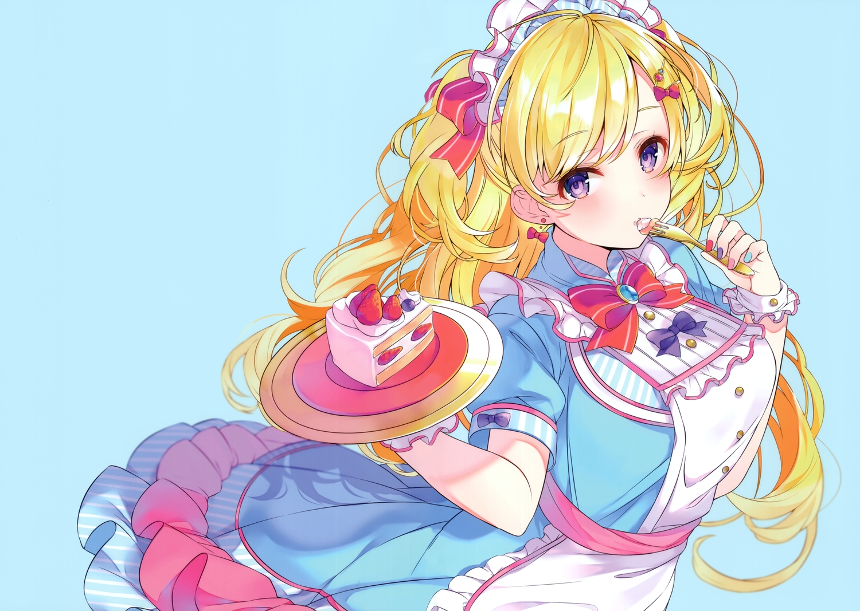 animal apron blonde_hair cake cow food fruit headdress lolita_fashion long_hair original purple_eyes ringozaka_mariko scan strawberry