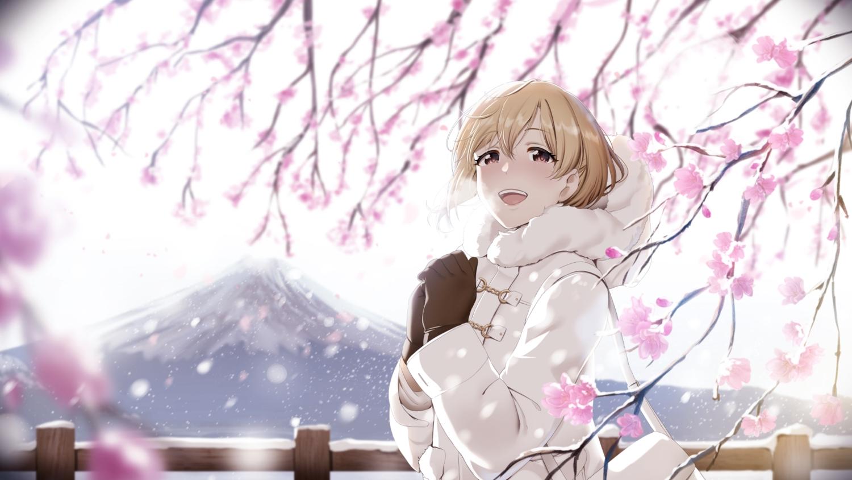 aiba_yumi aliasing blonde_hair blush casino_(artist) flowers gloves idolmaster idolmaster_cinderella_girls pink_eyes short_hair snow winter