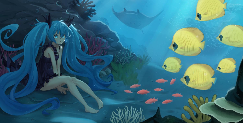 aliasing animal aqua_eyes aqua_hair bibboss39 bubbles deep-sea_girl_(vocaloid) dress fish hatsune_miku long_hair twintails underwater vocaloid water