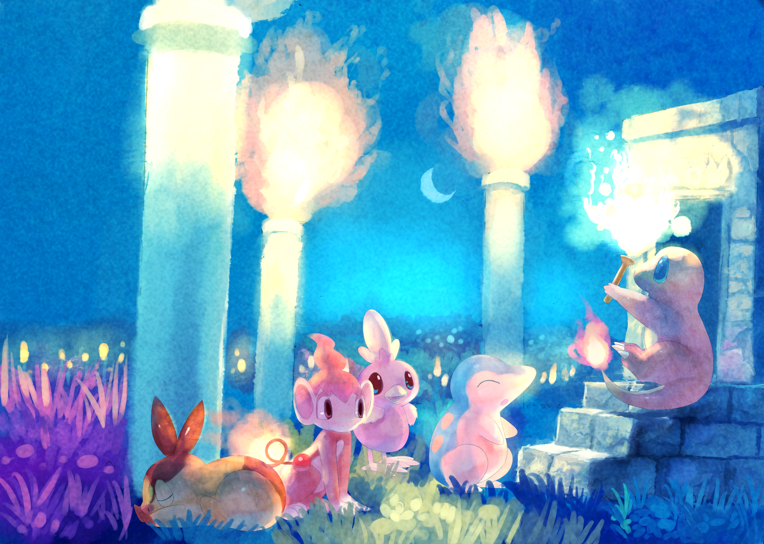 charmander chimchar cyndaquil fire grass group moon pokemon sleeping tagme_(artist) tail tepig torchic