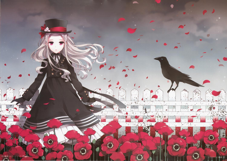 animal bird bow dress flowers gloves hat lolita_fashion long_hair nardack original petals pink_eyes scan white_hair